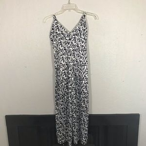Something Navy Black & White Silk Feel Maxi Dress
